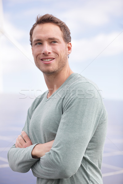 Portrait of young man entrepreneur by solar panels Stock photo © Maridav