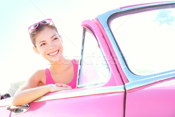 Woman driving vintage car Stock photo © Maridav
