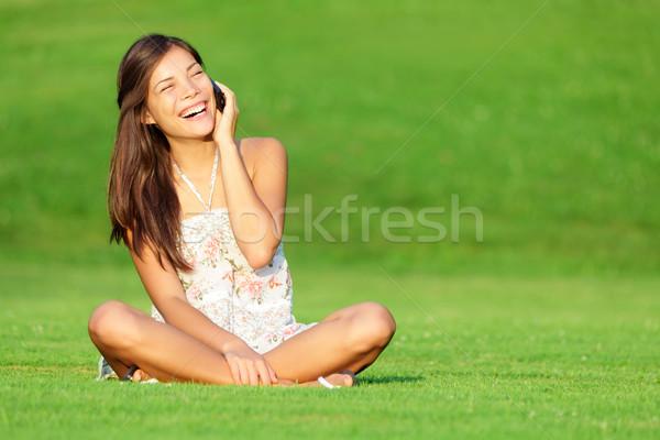 Stockfoto: Telefoon · vrouw · lachend · park · praten