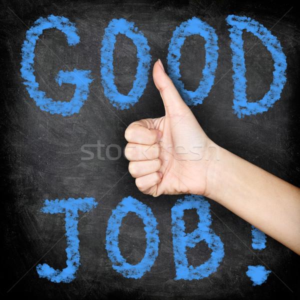 Good job - thumbs up blackboard Stock photo © Maridav