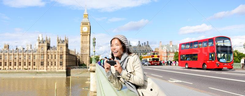 London travel banner - woman and Big Ben Stock photo © Maridav