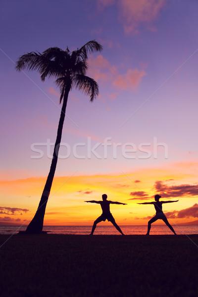 Foto stock: Ioga · meditação · pessoas · meditando · guerreiro · pose