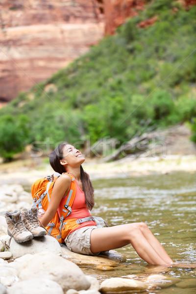 Relaxing hiker woman resting feet in river hiking Stock photo © Maridav