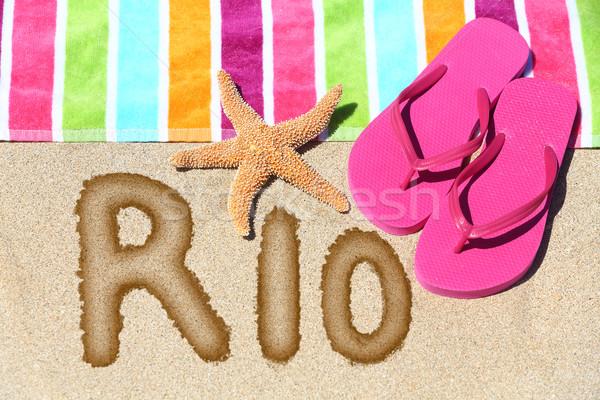 Rio plaj tatil havlu görmek Stok fotoğraf © Maridav