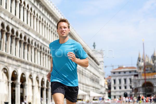 Running runner man jogging in Venice Stock photo © Maridav