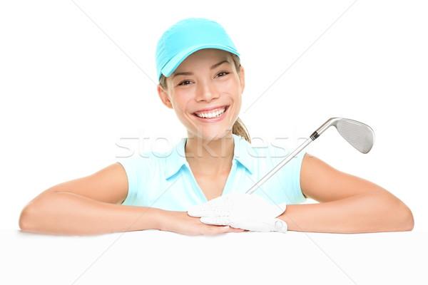 Jogador de golfe mulher assinar feminino vazio Foto stock © Maridav