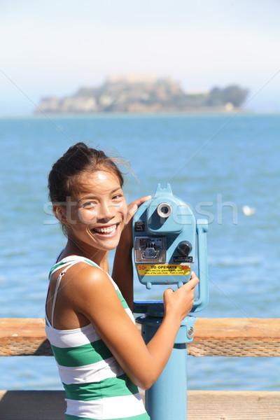 Stock photo: San Francisco travel tourist looking at Alcatraz