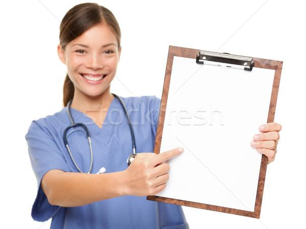 Foto stock: Enfermeira · médico · assinar · clipboard · cópia · espaço