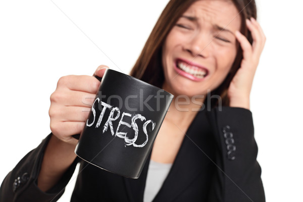 Stress at work concept - business woman stressed Stock photo © Maridav