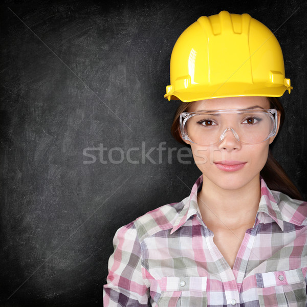 Bouwvakker vrouw Blackboard textuur ernstig home Stockfoto © Maridav