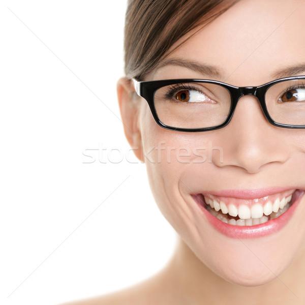 Stockfoto: Vrouw · bril · naar · gelukkig · kant