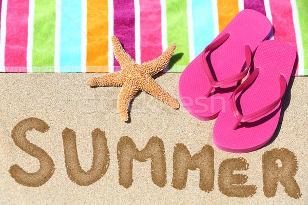 Летние каникулы пляж путешествия текста лет написанный Сток-фото © Maridav