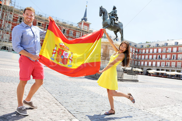 Spanish flag - People showing Spain flag in Madrid Stock photo © Maridav