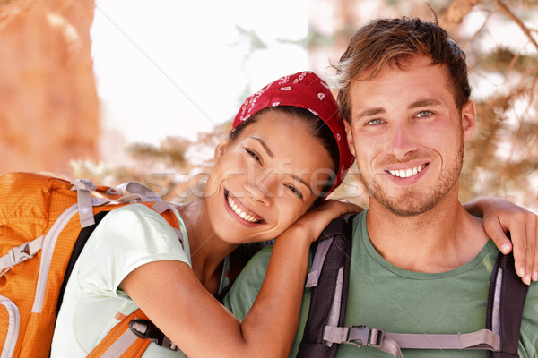 Happy young hikers backpacking on summer travel Stock photo © Maridav