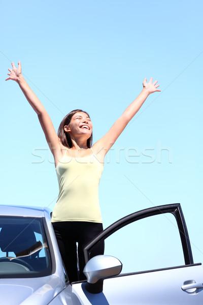 Stock photo: Car woman happy freedom concept