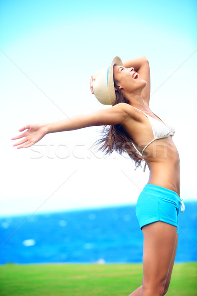 Happy freedom woman in summer Stock photo © Maridav