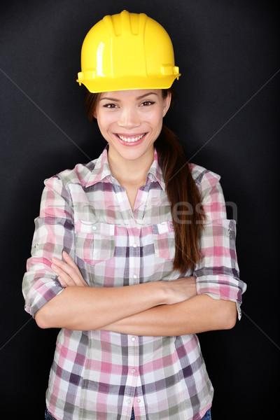 Női építőmunkás mérnök portré otthon tulajdonos Stock fotó © Maridav