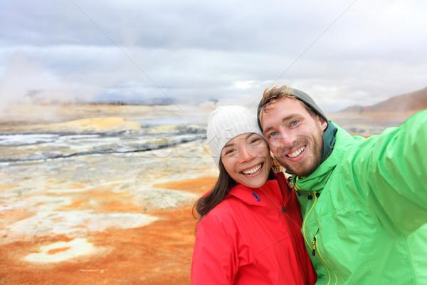 IJsland toeristen thermisch bad paar foto Stockfoto © Maridav
