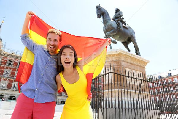 Madrid people showing Spain flag on Plaza Mayor Stock photo © Maridav