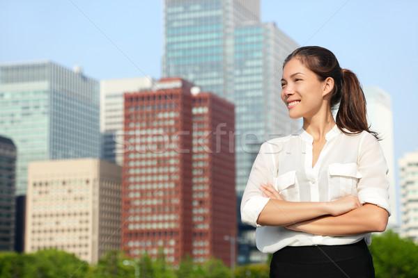 Asya Japon iş kadını portre Tokyo mutlu Stok fotoğraf © Maridav