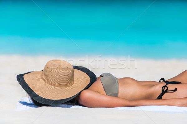 Beach relaxation hat woman sleeping sun tanning Stock photo © Maridav