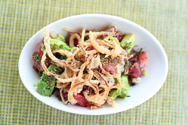 Hawaii restaurant poke bowl raw tuna hawaiian food Stock photo © Maridav