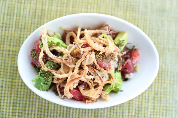 Stock photo: Hawaii restaurant poke bowl raw tuna hawaiian food