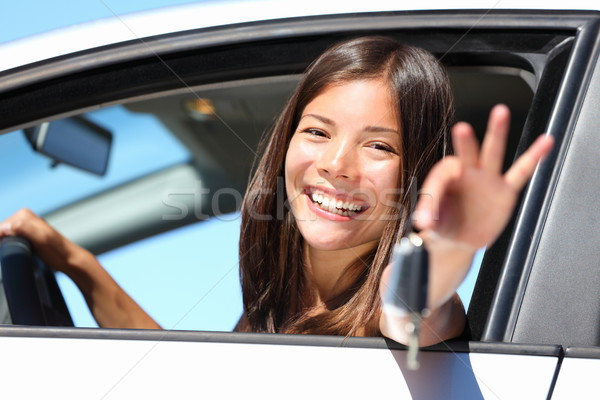 Woman driver in car showing keys Stock photo © Maridav