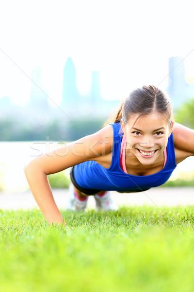 Stok fotoğraf: Egzersiz · kadın · oturmak · antreman · açık · eğitim
