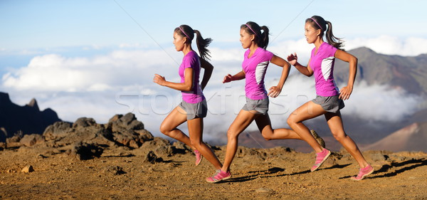 Stock photo: Running woman - runner in speed motion composite