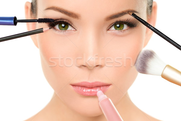 Makeup brushes concept - woman beauty face Stock photo © Maridav