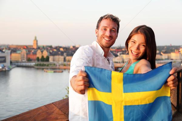 Insanlar İsveç bayrak Stockholm Stok fotoğraf © Maridav