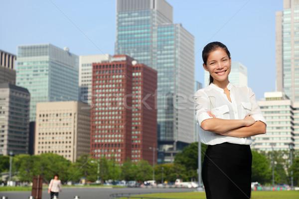 Businesswoman in Tokyo city skyline, Japan Stock photo © Maridav