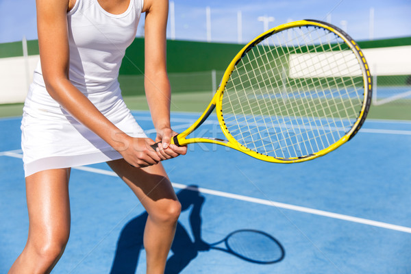 Stock photo: Tennis player woman ready to play on court