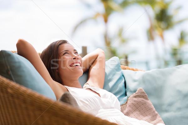 Otthon életstílus nő megnyugtató élvezi luxus Stock fotó © Maridav