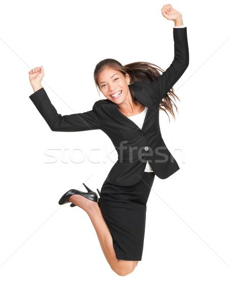 Imprenditrice jumping donna d'affari di successo suit Foto d'archivio © Maridav
