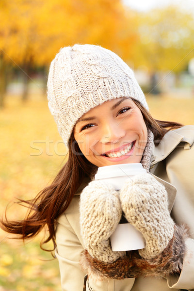 Autumn lifestyle woman drinking coffee Stock photo © Maridav