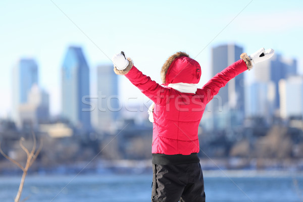 Happy winter woman in city Stock photo © Maridav