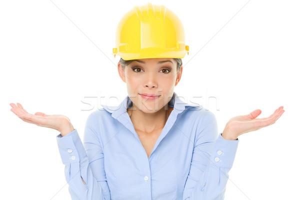 Engineer, entrepreneur or architect woman shrugging Stock photo © Maridav