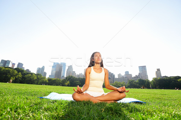 Meditating woman in meditation in New York park Stock photo © Maridav