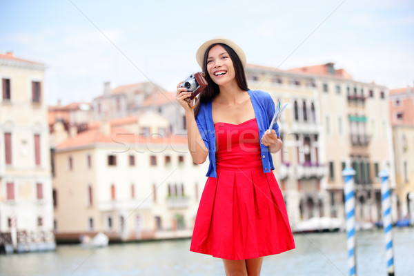 Travel tourist woman with camera in Venice, Italy Stock photo © Maridav