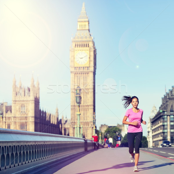 Londres mulher corrida Big Ben inglaterra estilo de vida Foto stock © Maridav