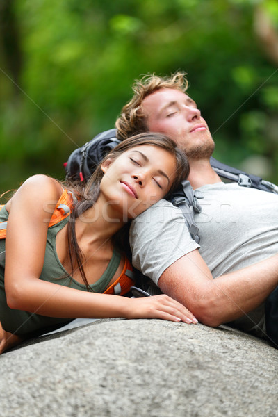 Hiking couple lovers relaxing sleeping in nature Stock photo © Maridav