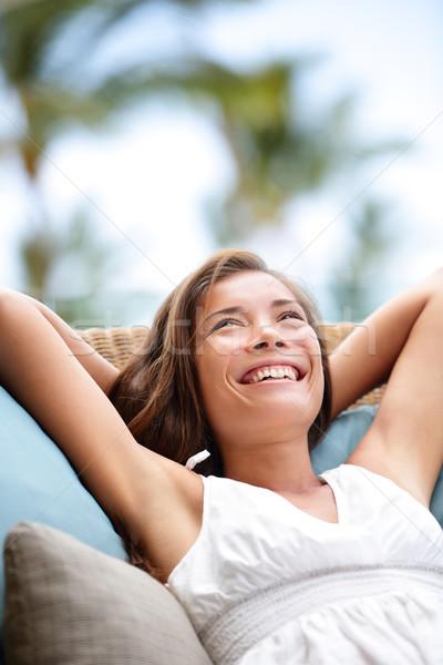 Sofa Woman relaxing enjoying lifestyle in luxury Stock photo © Maridav