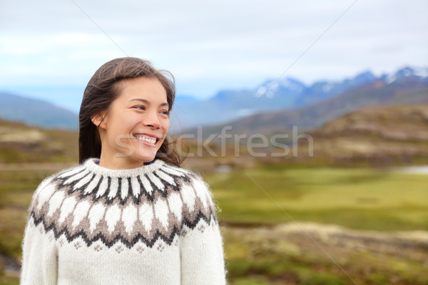 Woman on Iceland in Icelandic sweater Stock photo © Maridav