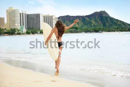 Stock fotó: Szörfözik · szörfös · boldog · szórakozás · szörfdeszka · ugrik