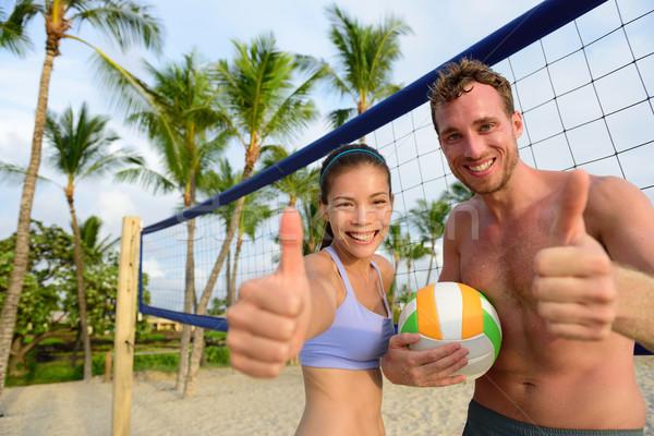 Boldog tengerpart röplabda játékosok remek izgatott Stock fotó © Maridav
