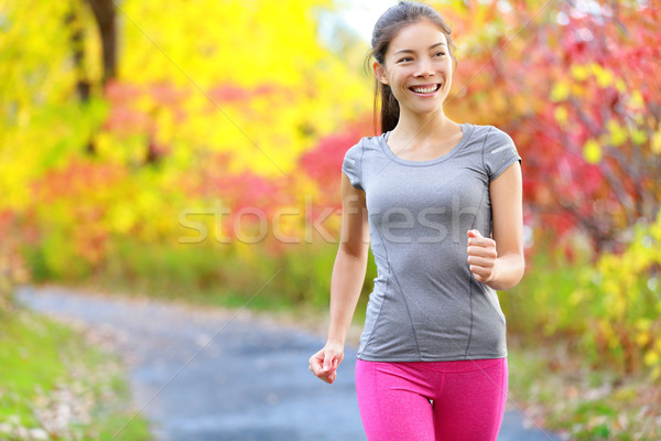 Woman power walking nordic speed walk and jogging Stock photo © Maridav