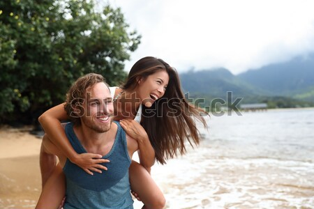 Hiking - travel couple tourist on Hawaii hike Stock photo © Maridav