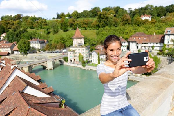 Travel selfie woman in Bern Switzerland Stock photo © Maridav
